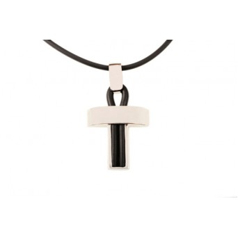 Jt Sterling Silver Men`s Cross Pendant on rubber cord
