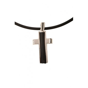 Jt Sterling Silver Men's Cross Necklace on rubber cord