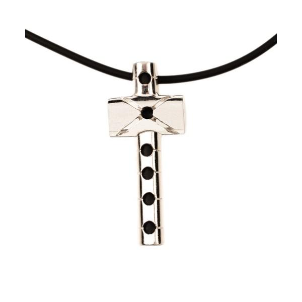 Jt Sterling Silver Men`s Cross on rubber cord
