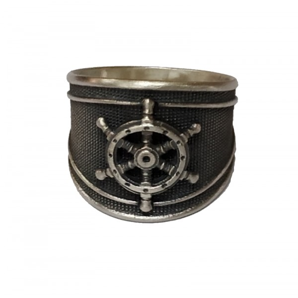 Jt Men's Silver Signet Ring Steering weel
