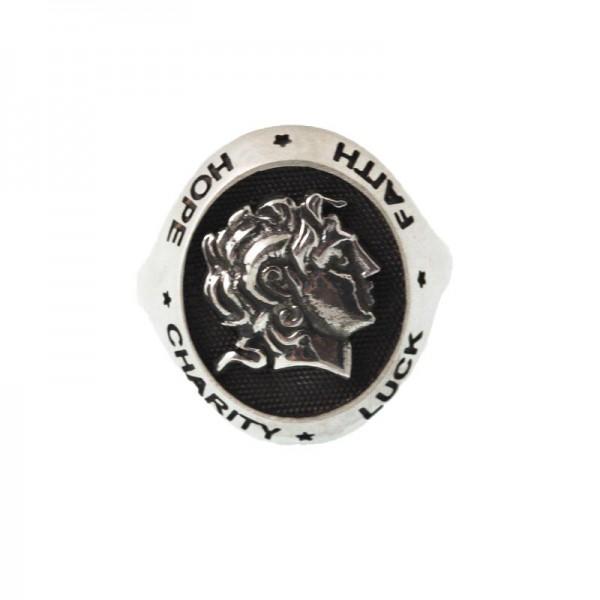 Jt Men's Signet Oval Ring Alexander the Great
