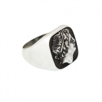 Jt Men's Signet Square Ring Alexander the Great