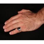 Jt Ανδρικό ασημένιο σεβαλιέ δαχτυλίδι με όνυχα