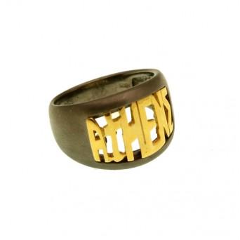 Jt Men's Signet Silver Ring Athens script