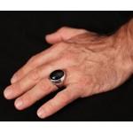 Jt Men's Sterling Silver Black Onyx Ring