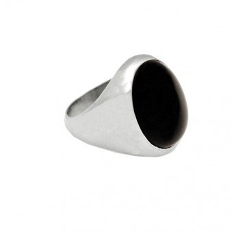 Jt Men's Sterling Silver Black Onyx Ring