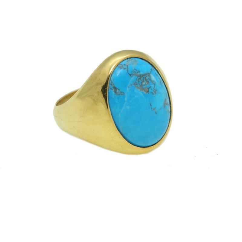 Jt Ανδρικό δαχτυλίδι από επιχρυσωμένο ασήμι με τυρκουάζ 759d85a5b88