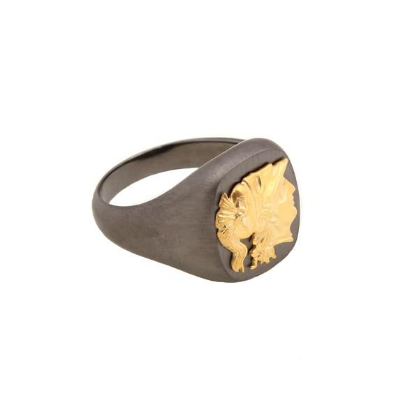 Jt Men's Signet Silver Ring of Goddess Athena