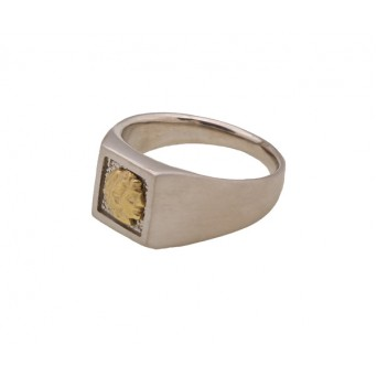 Jt Men's Chevalier Signet Silver-Gold Ring  Alexander the Great