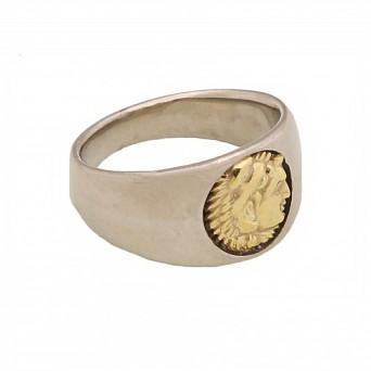 Jt Ανδρικό δαχτυλίδι χρυσή κεφαλή 14Κ Μέγας Αλέξανδρος 1,3cm