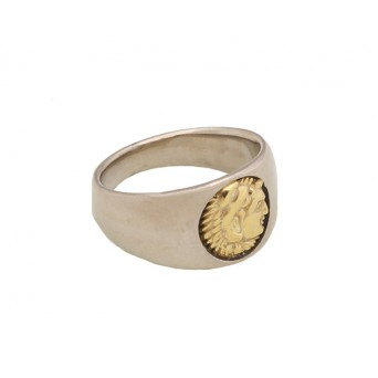 Jt Men's Signet Silver - Gold Ring Alexander the Great