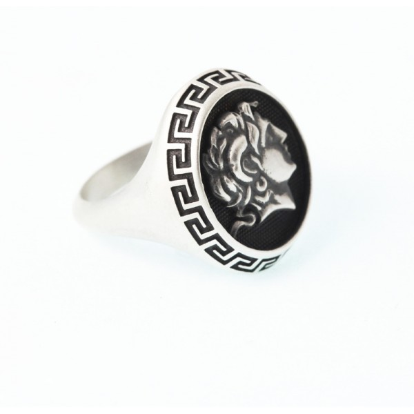 Jt Men's Signet Meander Ring Alexander the Great