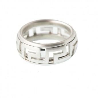 Jt Men's Silver Greek Meander Spinning Band Ring