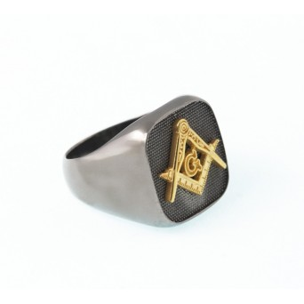 Jt Men's Signet Silver Ring Square and Compasses
