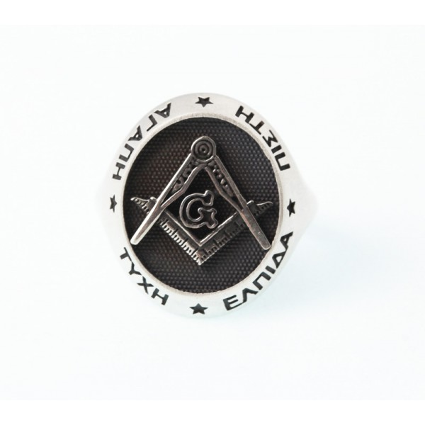Jt Men's Signet Oval Ring Square and Compasses
