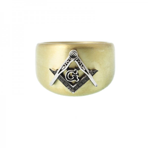 Jt Men's Silver Signet Ring Square and Compasses