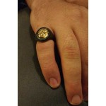 Jt sterling silver man`s ring with gold head of King Philip