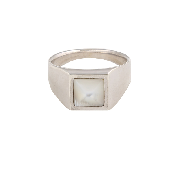 Jt Men's Sterling Silver Mother of Pearl Ring