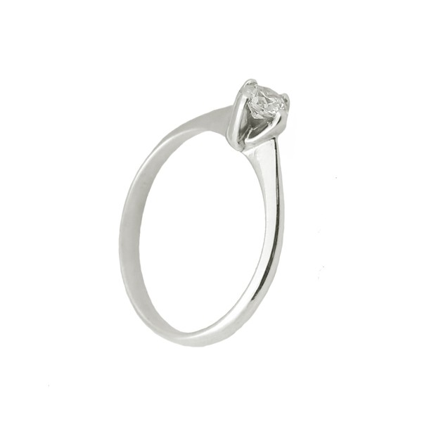 Jt Solitaire Engagement Ring 14K White Gold & White Zircon