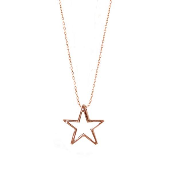 Jt Κολιέ αστέρι από ροζ ασήμι με αλυσίδα