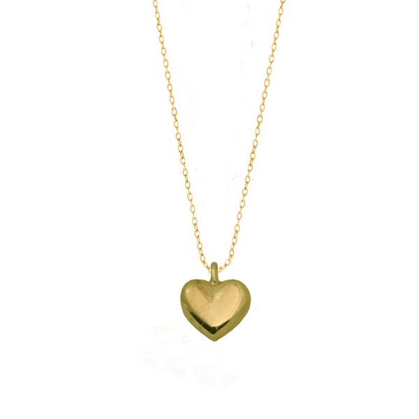 Cr Gold plated silver heart charm necklace