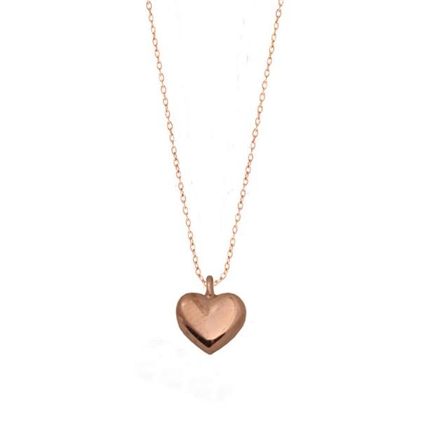 Cr Κολιέ καρδιά από ροζ ασήμι με αλυσίδα