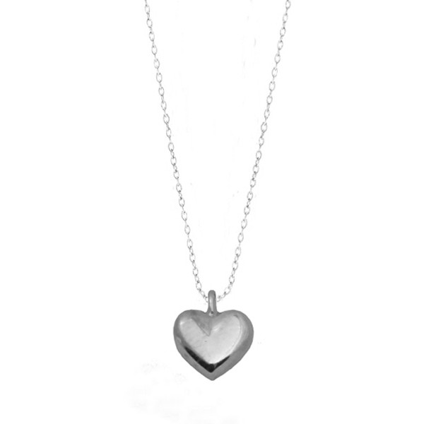 Cr Ασημένιο κολιέ καρδιά με αλυσίδα