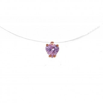 Jt Rose sterling silver purple solitaire CZ heart necklace on nylon thread
