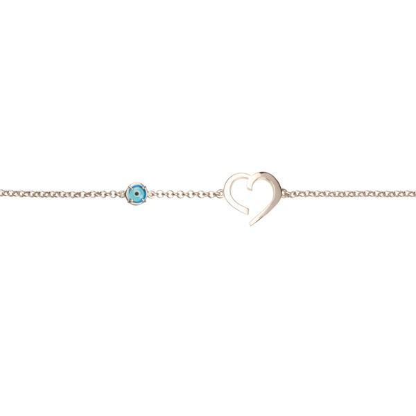 Jt Sterling silver heart eye charm bracelet
