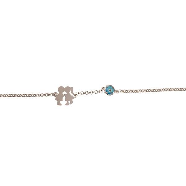 Jt Sterling silver boy and girl eye charm bracelet