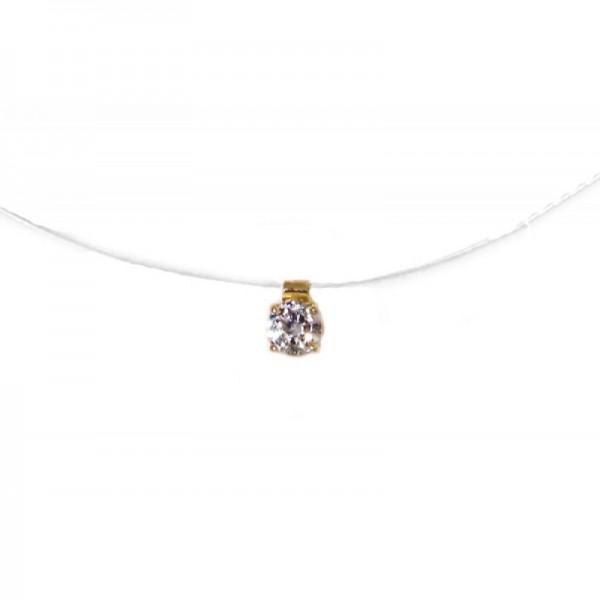 Cr Μονόπετρο χρυσό κολιέ λευκό ζιργκόν σε διάφανη πετονιά