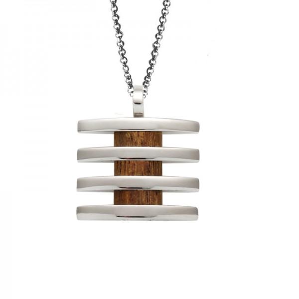 SL Ατσάλινο κολιέ πλακέτα με ξύλο σε αλυσίδα