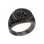 SL Men's Signet Compass Stainless Steel Ring