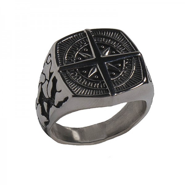 SL Statement Men's Signet Compass Stainless Steel Ring