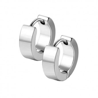 Jt Men's small thick stainless steel hoop earrings 0.9cm