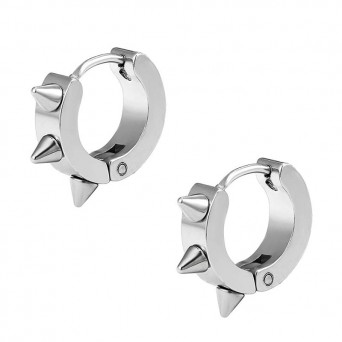 Jt Men's small stainless steel hoop spike helix earrings