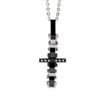 SL Men`s stainless steel cross sectional necklace