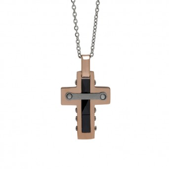 SL Men`s rose stainless steel cross necklace