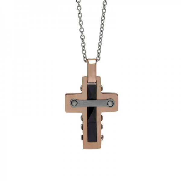 SL Men`s rose stainless steel cross necklace