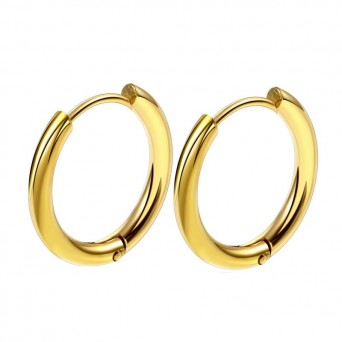 Jt Men's small gold stainless steel hoop earrings 1.2cm