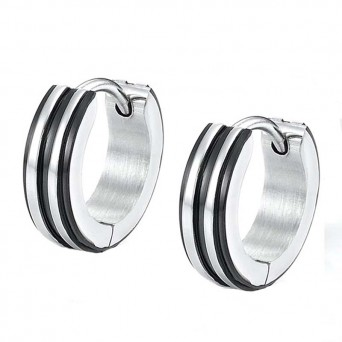 Jt Men's small striped stainless steel hoop earrings
