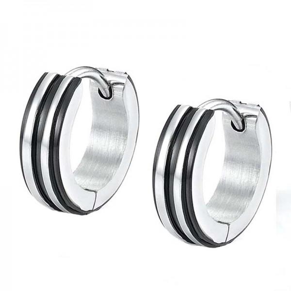 Jt Men's small striped stainless steel hoop earrings