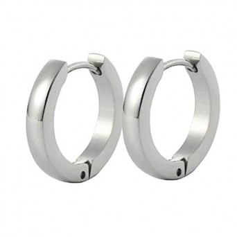 Jt Men's small stainless steel hoop earrings 0.9cm