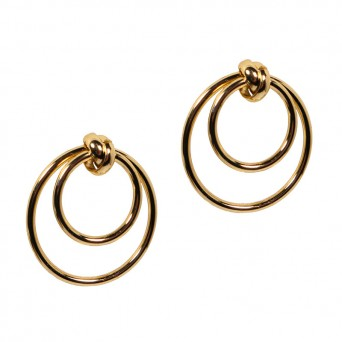 Jt Golden stainless steel double hoop earrings