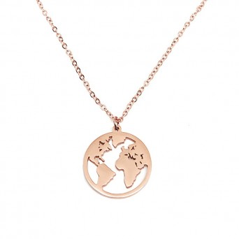 Jt Small rose gold Steel necklace 'Earth' on a chain