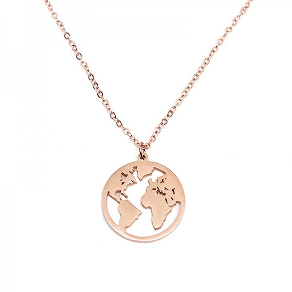 Jt Steel necklace 'Earth' rose gold on a chain