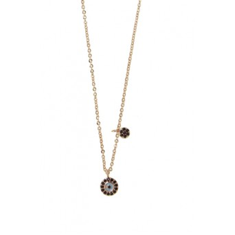 Mc Rose stainless steel double evil eye necklace