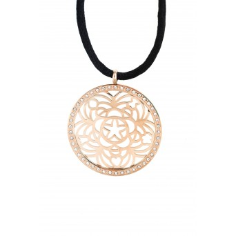 MC Rose gold plated stainless steel round necklace with crystals