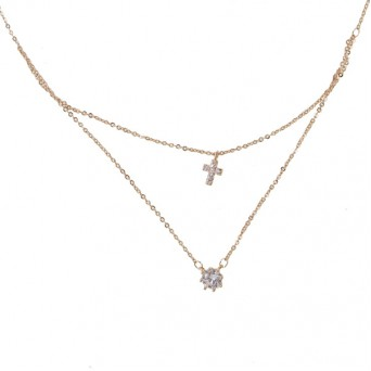 Mc Rose stainless steel solitaire double necklace