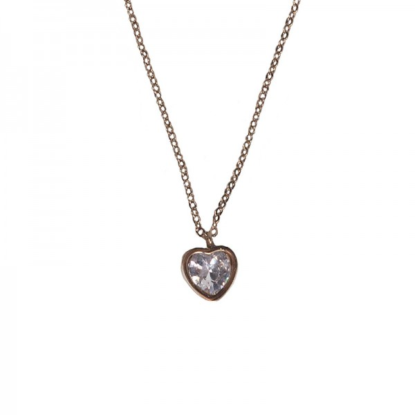 Jt Steel 'Heart' necklace rose gold with white crystal